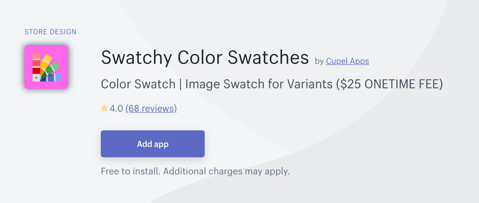 Swatchy Color Swatches は 25ドルで永久に使える